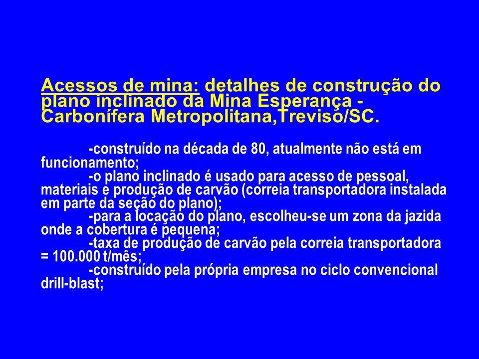 Acessos de mina: detalhes de construção do plano inclinado da Mina Esperança - Carbonífera Metropolitana,Treviso/SC. -construído na década de 80, atua