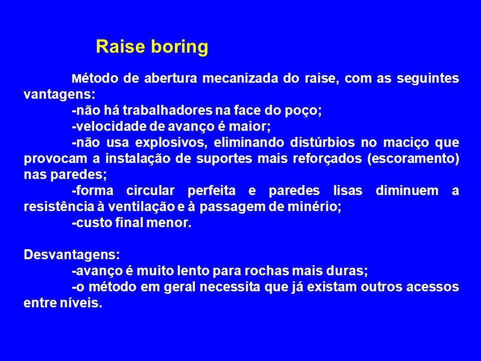 M étodo de abertura mecanizada do raise, com as seguintes vantagens: -não há trabalhadores na face do poço; -velocidade de avanço é maior; -não usa ex
