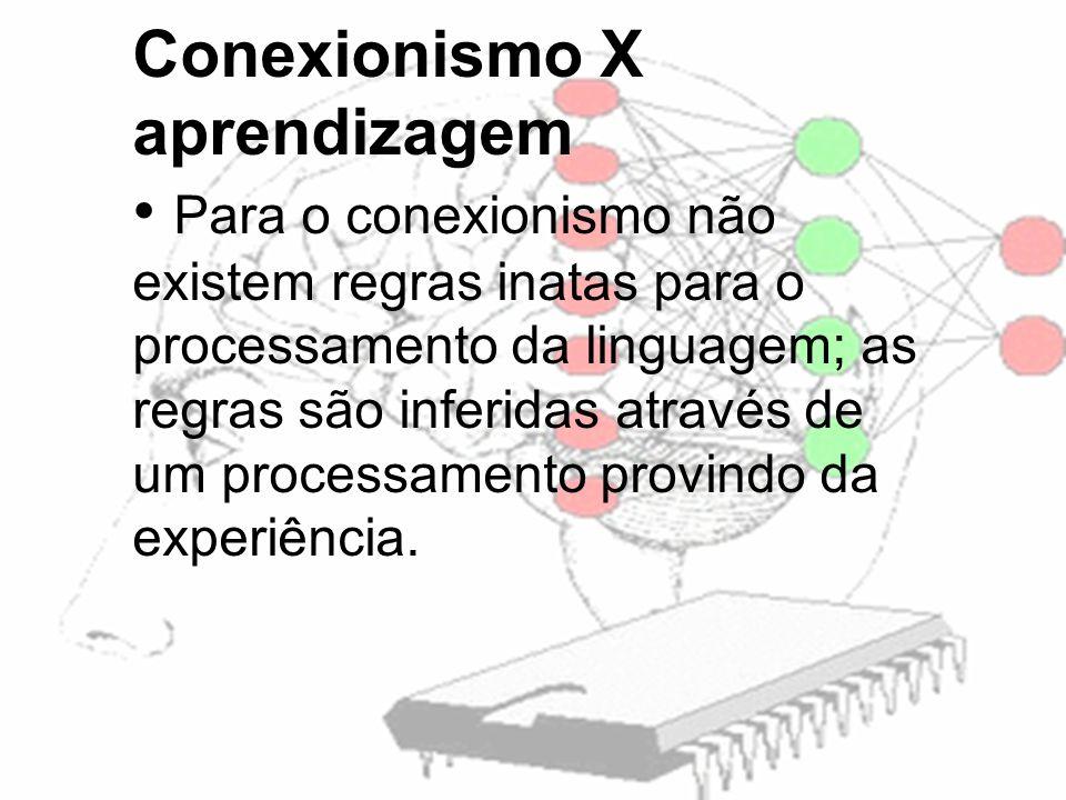 Conexionismo X aprendizagem Para o conexionismo não existem regras inatas para o processamento da linguagem; as regras são inferidas através de um processamento provindo da experiência.