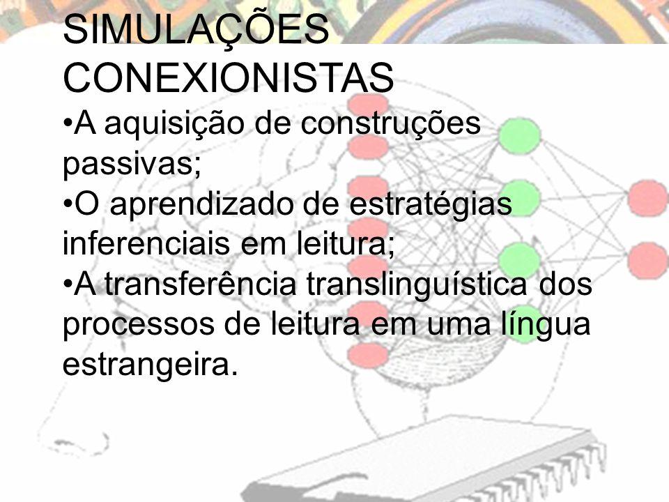 SIMULAÇÕES CONEXIONISTAS A aquisição de construções passivas; O aprendizado de estratégias inferenciais em leitura; A transferência translinguística dos processos de leitura em uma língua estrangeira.