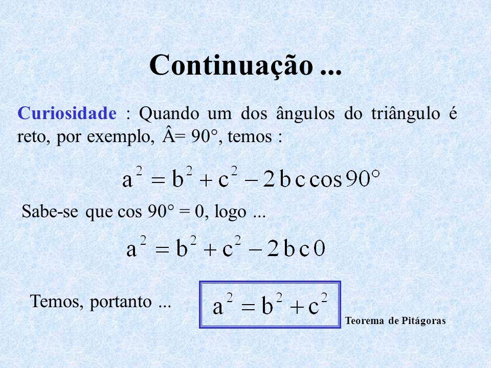 Continuação... Curiosidade : Quando um dos ângulos do triângulo é reto, por exemplo, Â= 90°, temos : Sabe-se que cos 90° = 0, logo... Temos, portanto.