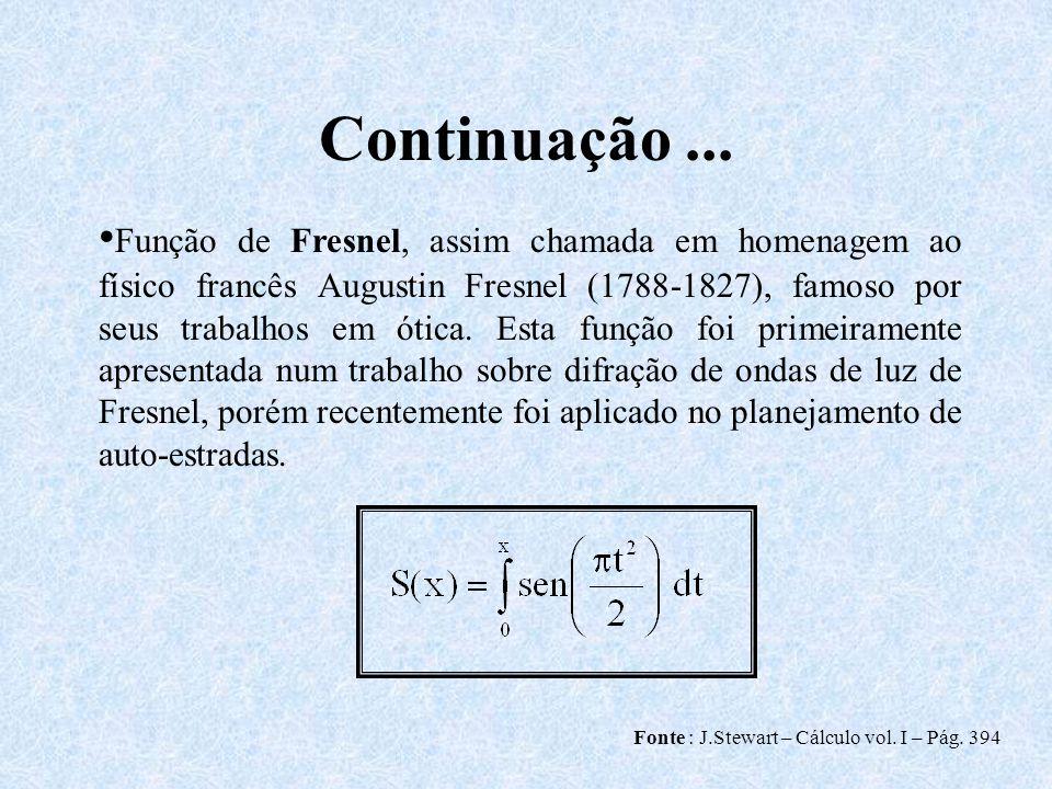 Continuação... Fonte : J.Stewart – Cálculo vol. I – Pág. 394 Função de Fresnel, assim chamada em homenagem ao físico francês Augustin Fresnel (1788-18