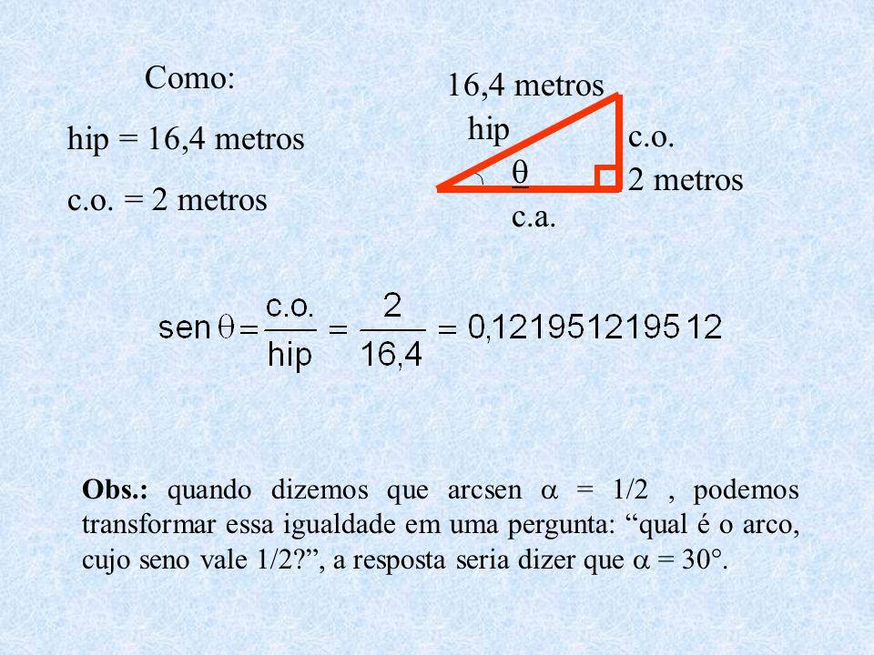  2 metros 16,4 metros hip c.o. c.a. Como: hip = 16,4 metros c.o. = 2 metros Obs.: quando dizemos que arcsen  = 1/2, podemos transformar essa igualda