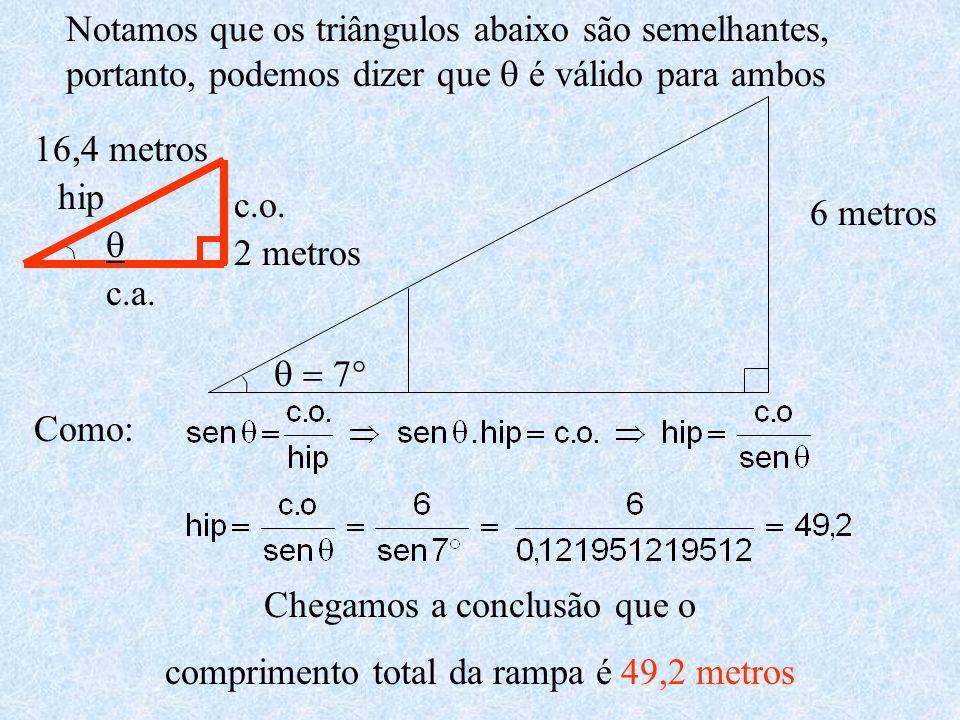 6 metros   2 metros 16,4 metros hip c.o. c.a. Notamos que os triângulos abaixo são semelhantes, portanto, podemos dizer que  é válido para amb