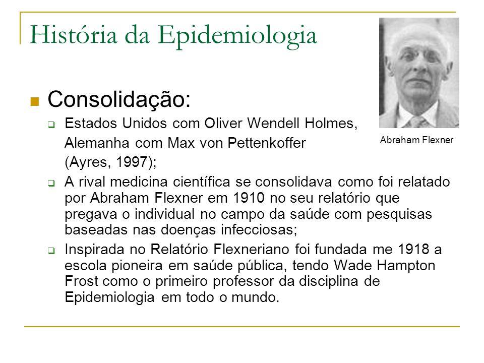 História da Epidemiologia Consolidação:  Estados Unidos com Oliver Wendell Holmes, Alemanha com Max von Pettenkoffer (Ayres, 1997);  A rival medicina científica se consolidava como foi relatado por Abraham Flexner em 1910 no seu relatório que pregava o individual no campo da saúde com pesquisas baseadas nas doenças infecciosas;  Inspirada no Relatório Flexneriano foi fundada me 1918 a escola pioneira em saúde pública, tendo Wade Hampton Frost como o primeiro professor da disciplina de Epidemiologia em todo o mundo.