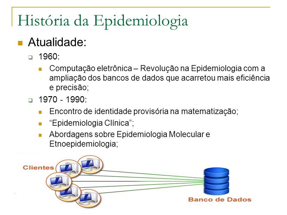 História da Epidemiologia Atualidade:  1960: Computação eletrônica – Revolução na Epidemiologia com a ampliação dos bancos de dados que acarretou mai