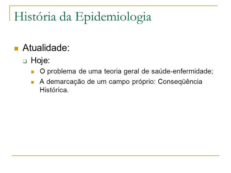 História da Epidemiologia Atualidade:  Hoje: O problema de uma teoria geral de saúde-enfermidade; A demarcação de um campo próprio: Conseqüência Hist