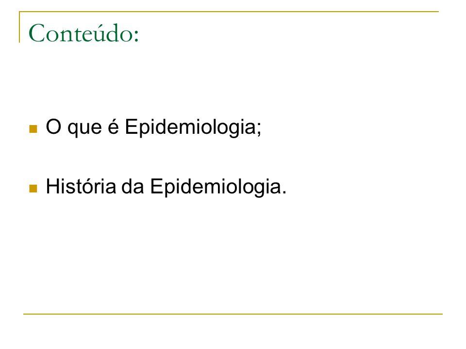 Conteúdo: O que é Epidemiologia; História da Epidemiologia.