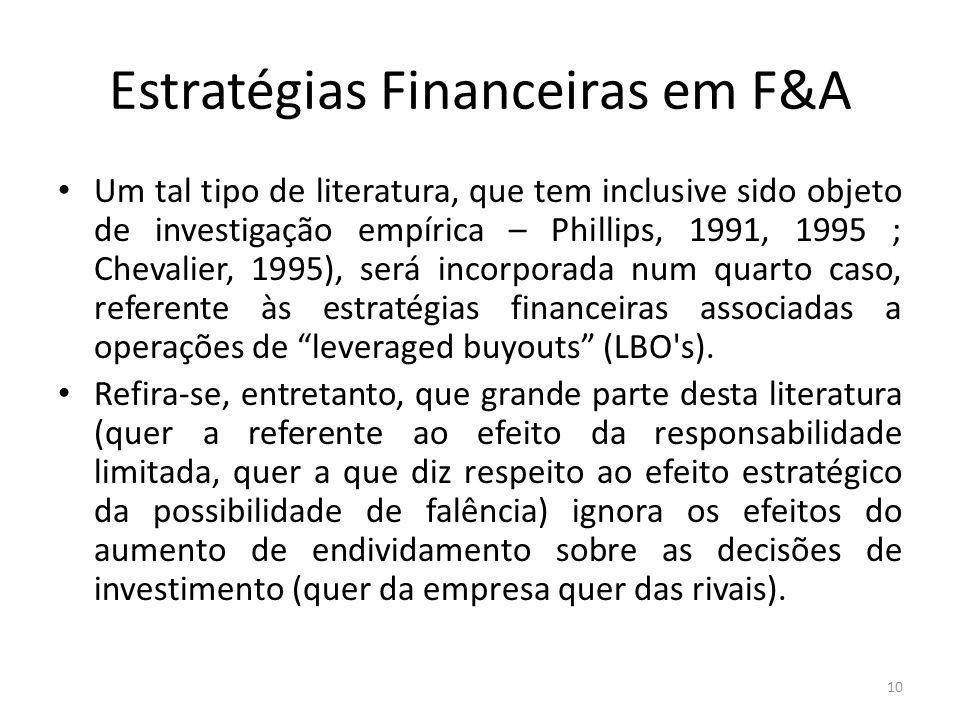 Estratégias Financeiras em F&A Um tal tipo de literatura, que tem inclusive sido objeto de investigação empírica – Phillips, 1991, 1995 ; Chevalier, 1