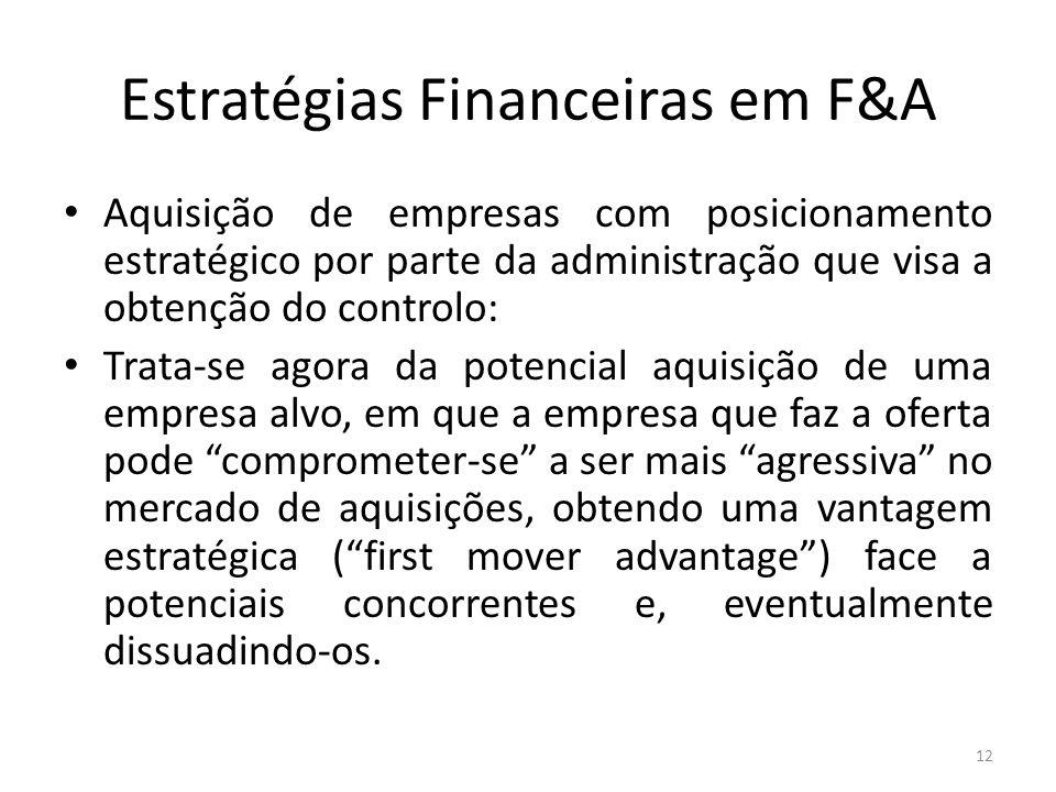 Estratégias Financeiras em F&A Aquisição de empresas com posicionamento estratégico por parte da administração que visa a obtenção do controlo: Trata-