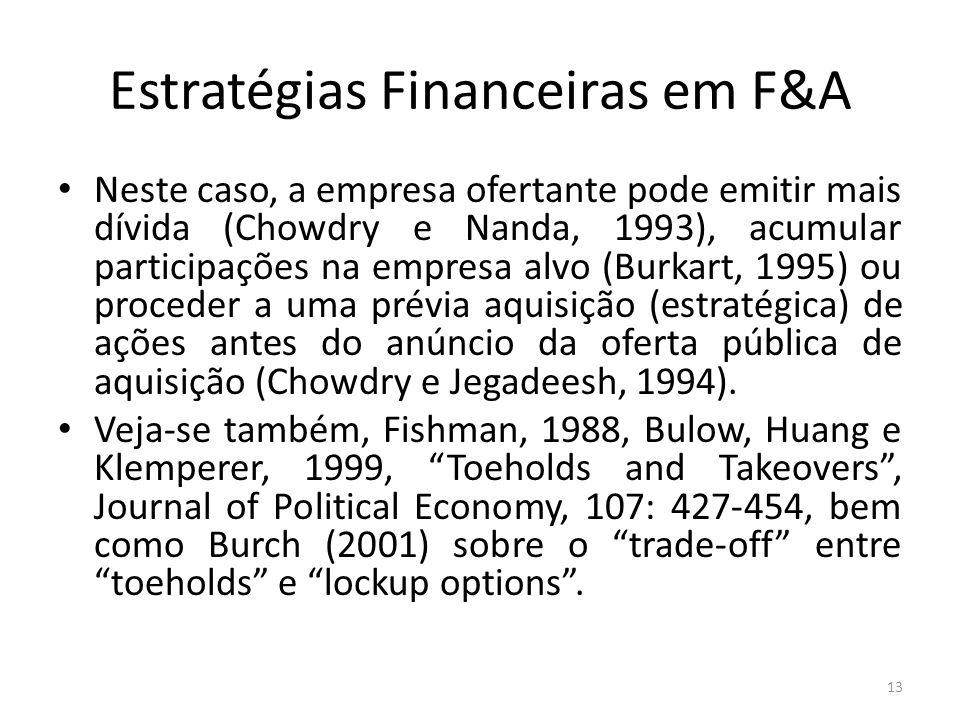 Estratégias Financeiras em F&A Neste caso, a empresa ofertante pode emitir mais dívida (Chowdry e Nanda, 1993), acumular participações na empresa alvo