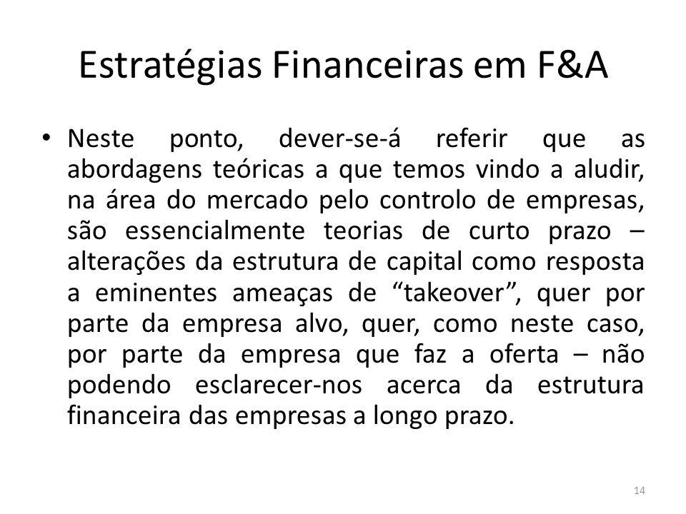 Estratégias Financeiras em F&A Neste ponto, dever-se-á referir que as abordagens teóricas a que temos vindo a aludir, na área do mercado pelo controlo