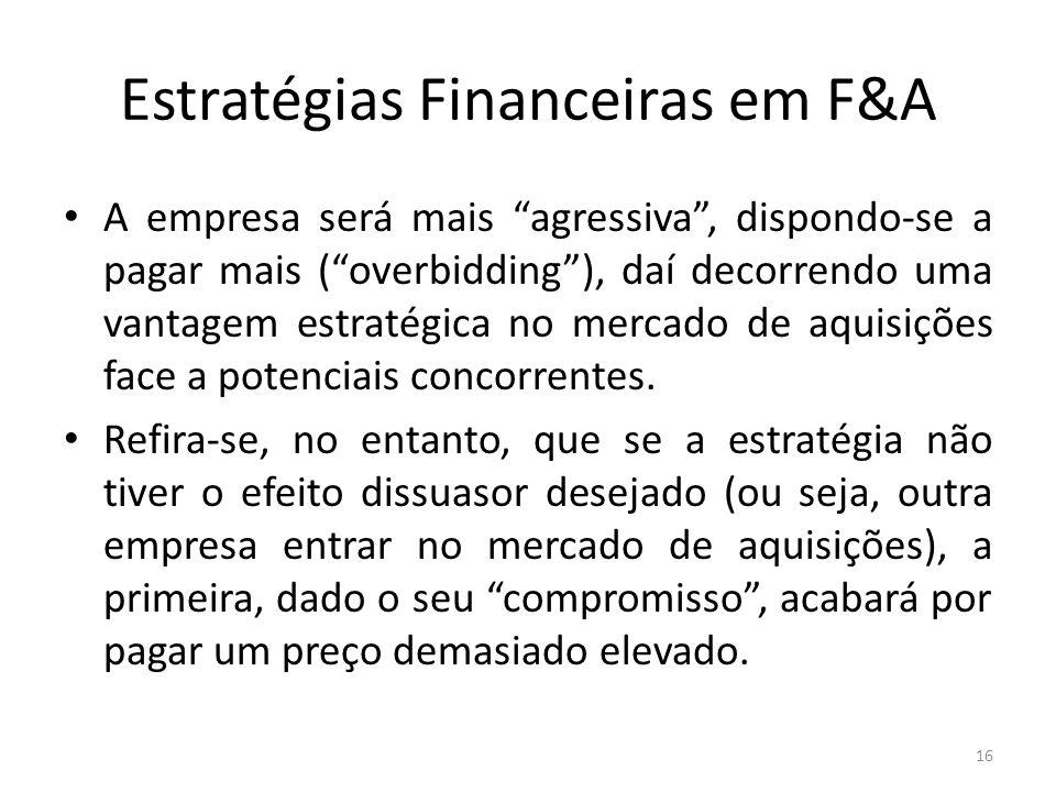 """Estratégias Financeiras em F&A A empresa será mais """"agressiva"""", dispondo-se a pagar mais (""""overbidding""""), daí decorrendo uma vantagem estratégica no m"""
