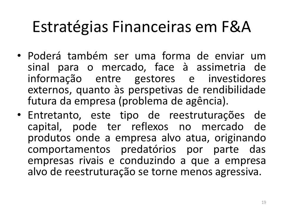 Estratégias Financeiras em F&A Poderá também ser uma forma de enviar um sinal para o mercado, face à assimetria de informação entre gestores e investi