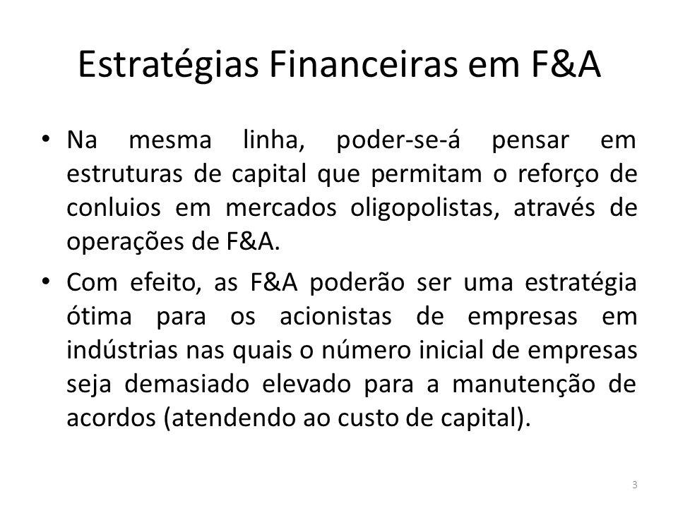 Estratégias Financeiras em F&A Na mesma linha, poder-se-á pensar em estruturas de capital que permitam o reforço de conluios em mercados oligopolistas