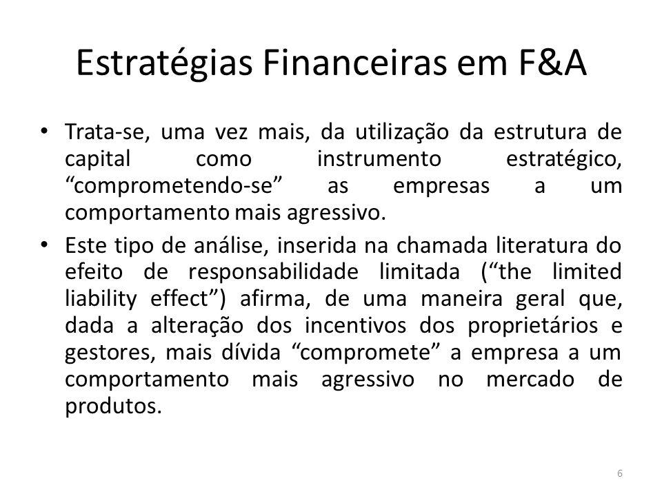 """Estratégias Financeiras em F&A Trata-se, uma vez mais, da utilização da estrutura de capital como instrumento estratégico, """"comprometendo-se"""" as empre"""