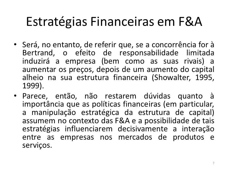Estratégias Financeiras em F&A Será, no entanto, de referir que, se a concorrência for à Bertrand, o efeito de responsabilidade limitada induzirá a em