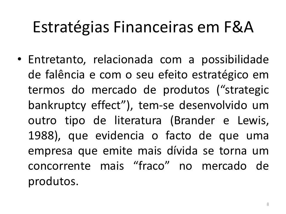 Estratégias Financeiras em F&A Entretanto, relacionada com a possibilidade de falência e com o seu efeito estratégico em termos do mercado de produtos