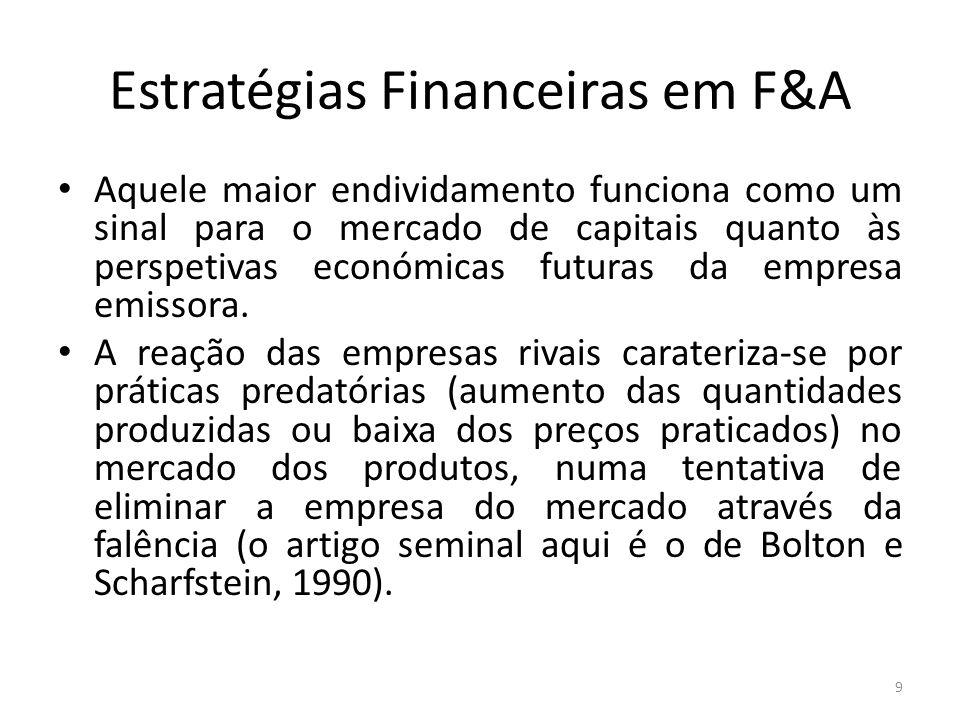 Estratégias Financeiras em F&A Aquele maior endividamento funciona como um sinal para o mercado de capitais quanto às perspetivas económicas futuras d