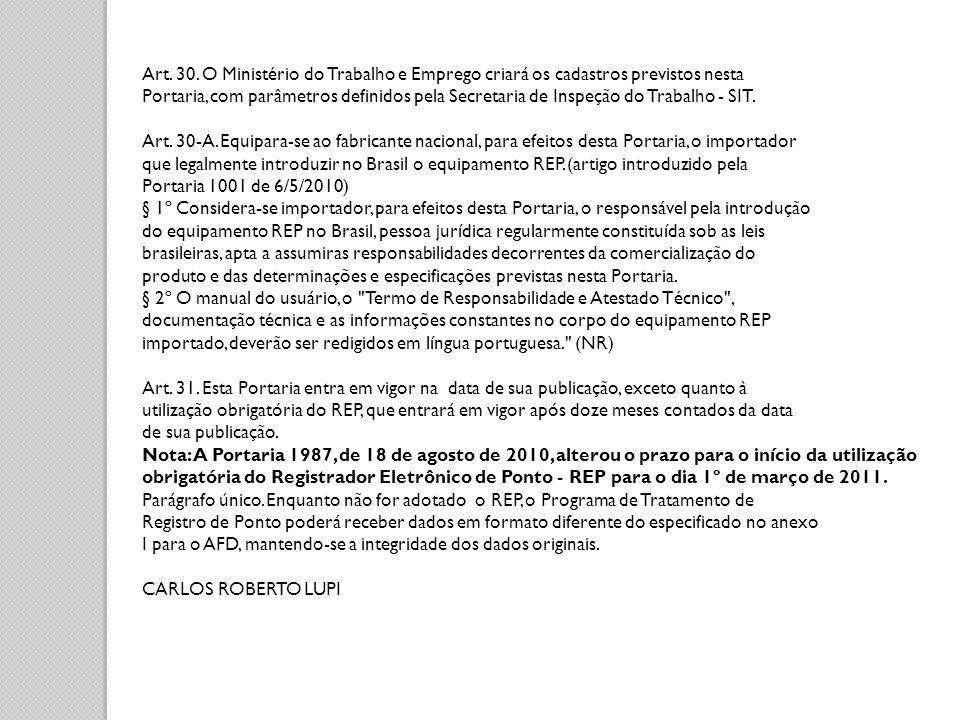 PORTARIA n.º 1987 DE 18 DE AGOSTO DE 2010 Altera o prazo para o início da obrigatoriedade do Registrador Eletrônico de Ponto - REP, previsto na Portaria/MTE Nº 1.510, de 21 de agosto de 2009.