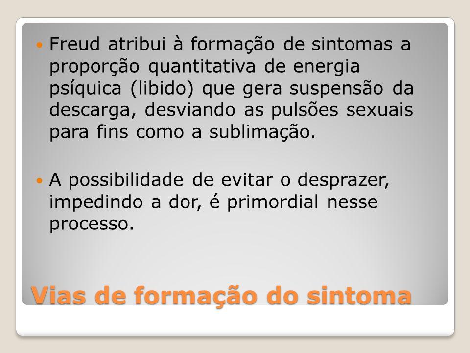 Vias de formação do sintoma Freud atribui à formação de sintomas a proporção quantitativa de energia psíquica (libido) que gera suspensão da descarga,