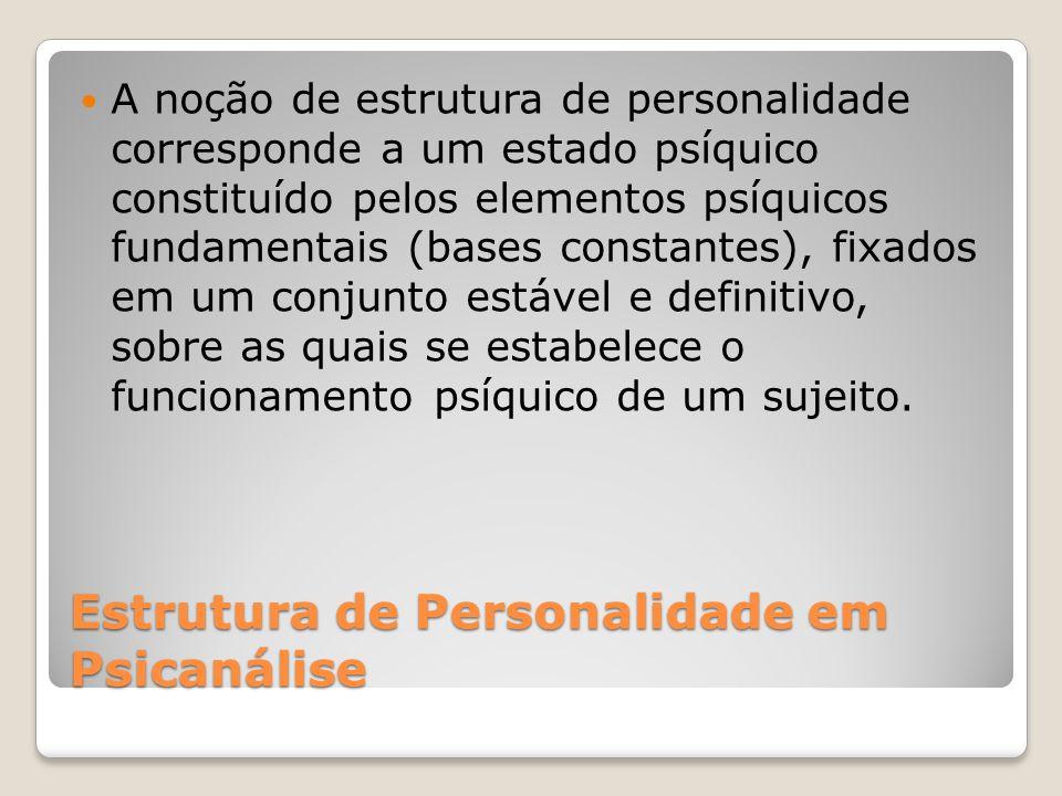 Estrutura de Personalidade em Psicanálise A noção de estrutura de personalidade corresponde a um estado psíquico constituído pelos elementos psíquicos