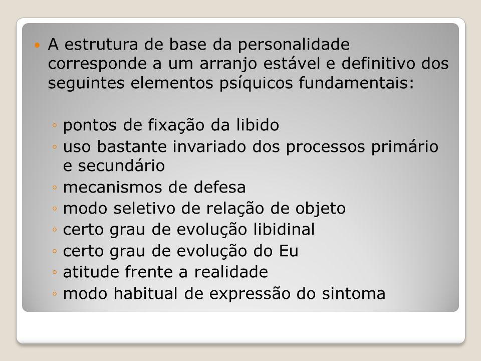 A estrutura de base da personalidade corresponde a um arranjo estável e definitivo dos seguintes elementos psíquicos fundamentais: ◦pontos de fixação