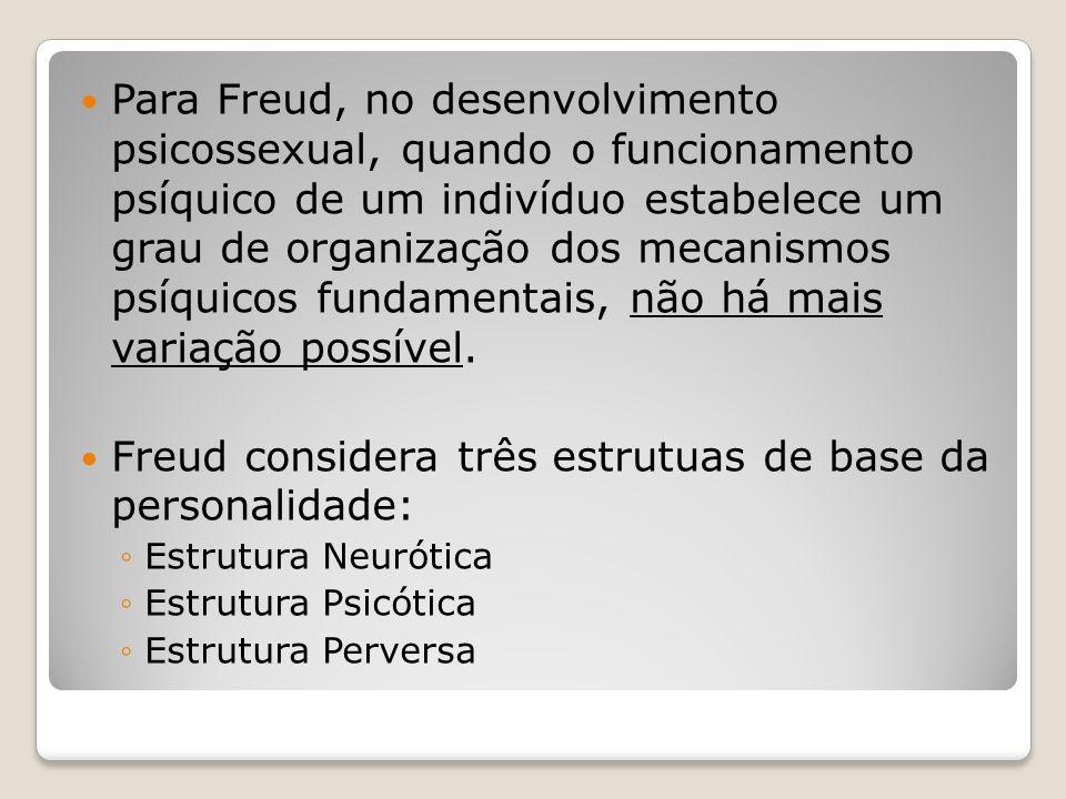 Para Freud, no desenvolvimento psicossexual, quando o funcionamento psíquico de um indivíduo estabelece um grau de organização dos mecanismos psíquico