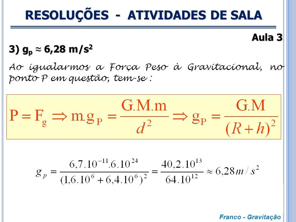 RESOLUÇÕES - ATIVIDADES DE SALA Aula 3 2) g' = 4 m/s 2 De acordo com o enunciado, tem-se: Franco - Gravitação Situação 1 Situação 2 VolumeV8V MassaMM