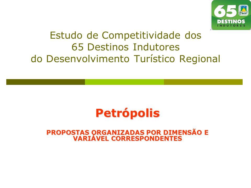 Estudo de Competitividade dos 65 Destinos Indutores do Desenvolvimento Turístico Regional Petrópolis PROPOSTAS ORGANIZADAS POR DIMENSÃO E VARIÁVEL CORRESPONDENTES
