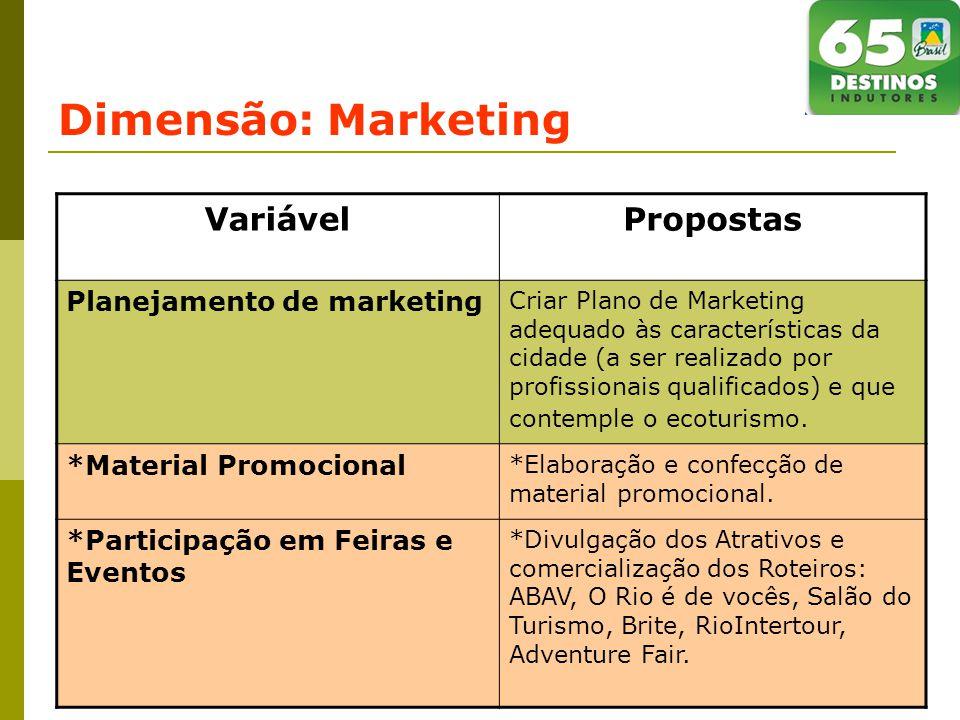Dimensão: Marketing VariávelPropostas Planejamento de marketing Criar Plano de Marketing adequado às características da cidade (a ser realizado por profissionais qualificados) e que contemple o ecoturismo.