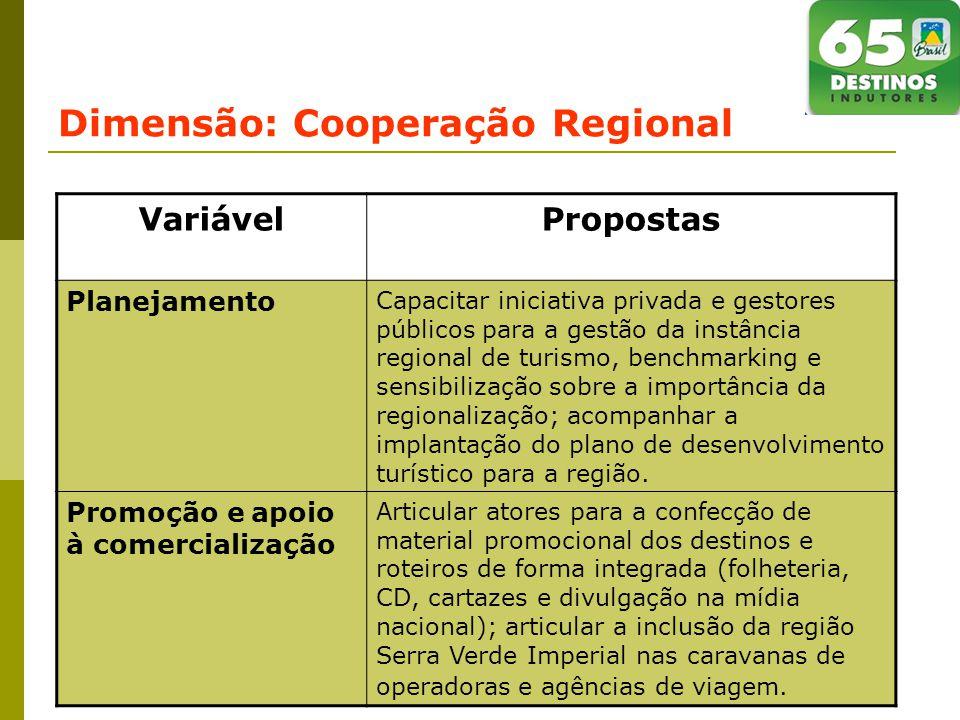 Dimensão: Cooperação Regional VariávelPropostas Planejamento Capacitar iniciativa privada e gestores públicos para a gestão da instância regional de turismo, benchmarking e sensibilização sobre a importância da regionalização; acompanhar a implantação do plano de desenvolvimento turístico para a região.