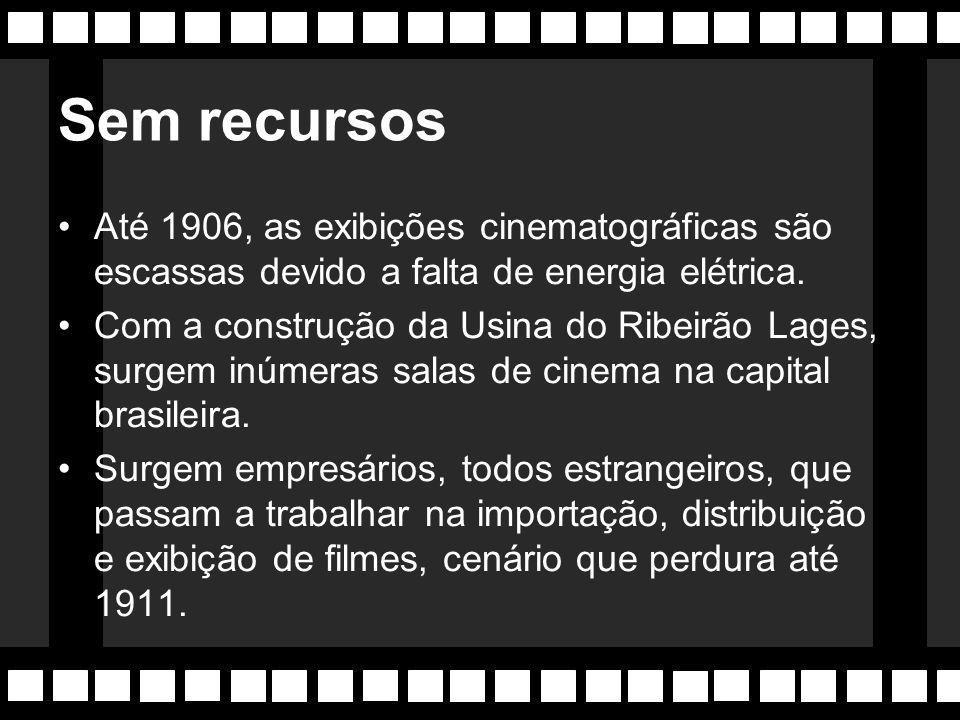 """Primórdios: 1896-1912 O Omniographo faz exibições na Rua do Ouvidor (RJ) durante 3 semanas. 1897- É instalada a primeira sala de cinema o """"Salão das N"""