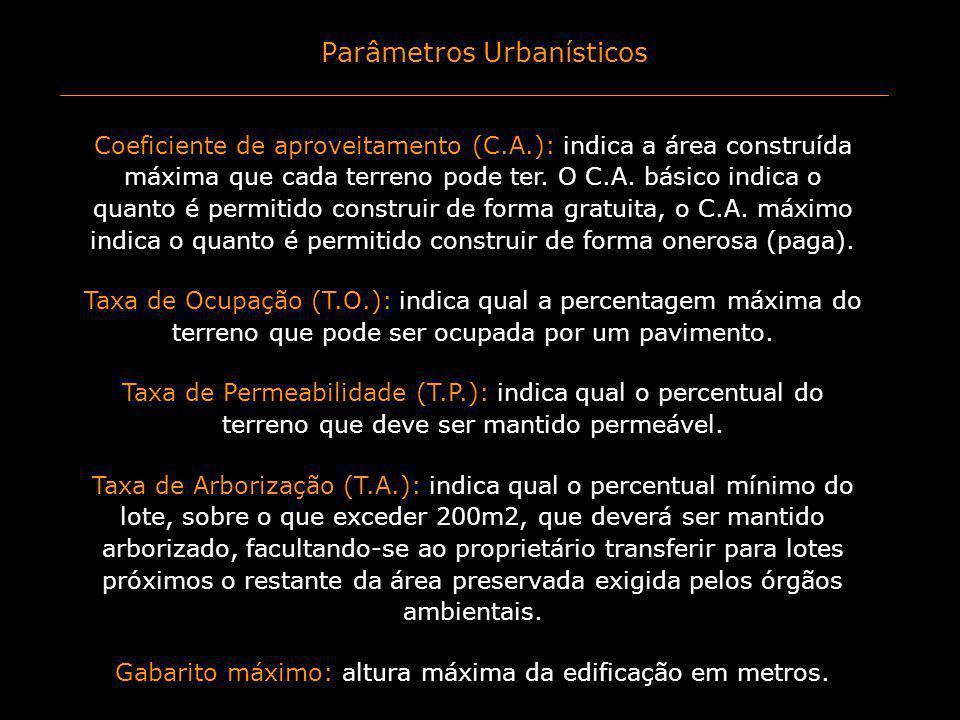 Parâmetros Urbanísticos Coeficiente de aproveitamento (C.A.): indica a área construída máxima que cada terreno pode ter. O C.A. básico indica o quanto