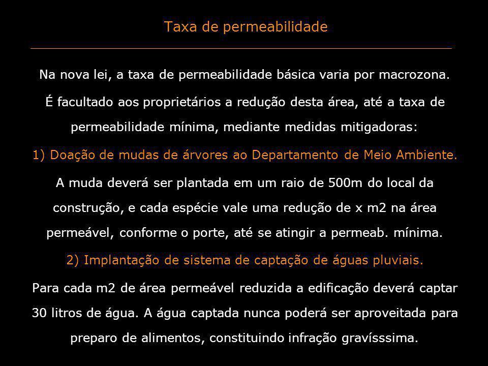 Taxa de permeabilidade Na nova lei, a taxa de permeabilidade básica varia por macrozona. É facultado aos proprietários a redução desta área, até a tax