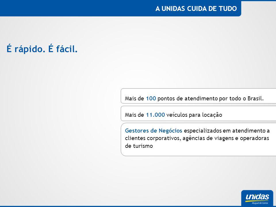 A UNIDAS CUIDA DE TUDO É rápido. É fácil. Mais de 100 pontos de atendimento por todo o Brasil. Mais de 11.000 veículos para locação Gestores de Negóci