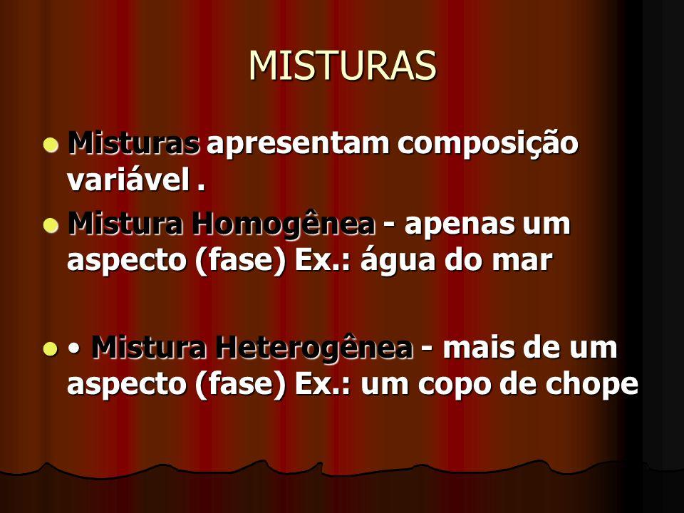 MISTURAS Misturas apresentam composição variável. Misturas apresentam composição variável. Mistura Homogênea - apenas um aspecto (fase) Ex.: água do m