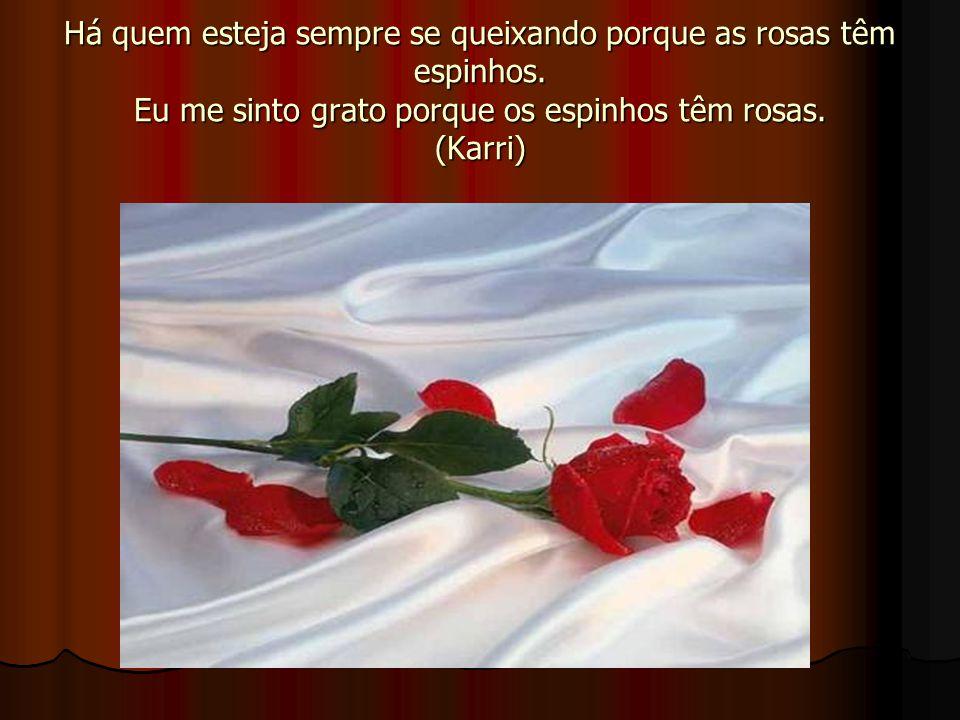 Há quem esteja sempre se queixando porque as rosas têm espinhos. Eu me sinto grato porque os espinhos têm rosas. (Karri)