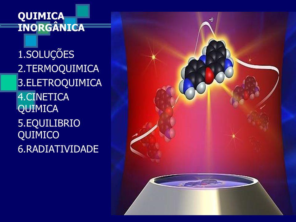 QUIMICA INORGÂNICA 1.SOLUÇÕES 2.TERMOQUIMICA 3.ELETROQUIMICA 4.CINETICA QUIMICA 5.EQUILIBRIO QUIMICO 6.RADIATIVIDADE