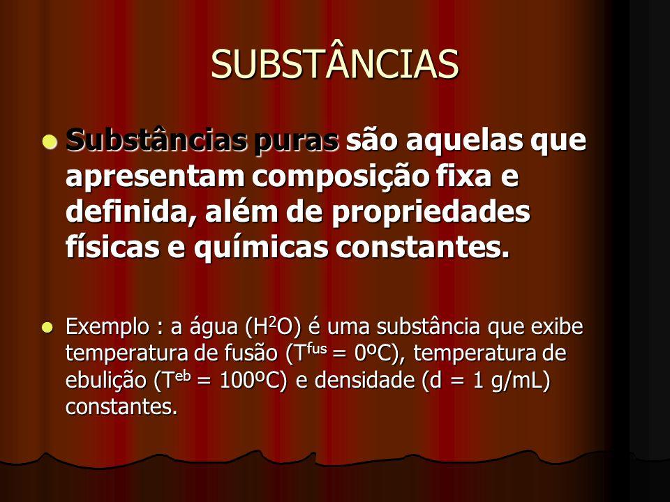 SUBSTÂNCIAS Substâncias puras são aquelas que apresentam composição fixa e definida, além de propriedades físicas e químicas constantes. Substâncias p