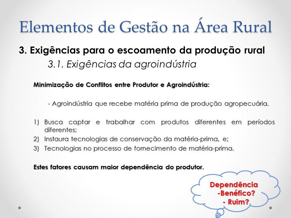 Elementos de Gestão na Área Rural 3. Exigências para o escoamento da produção rural 3.1. Exigências da agroindústria Minimização de Conflitos entre Pr