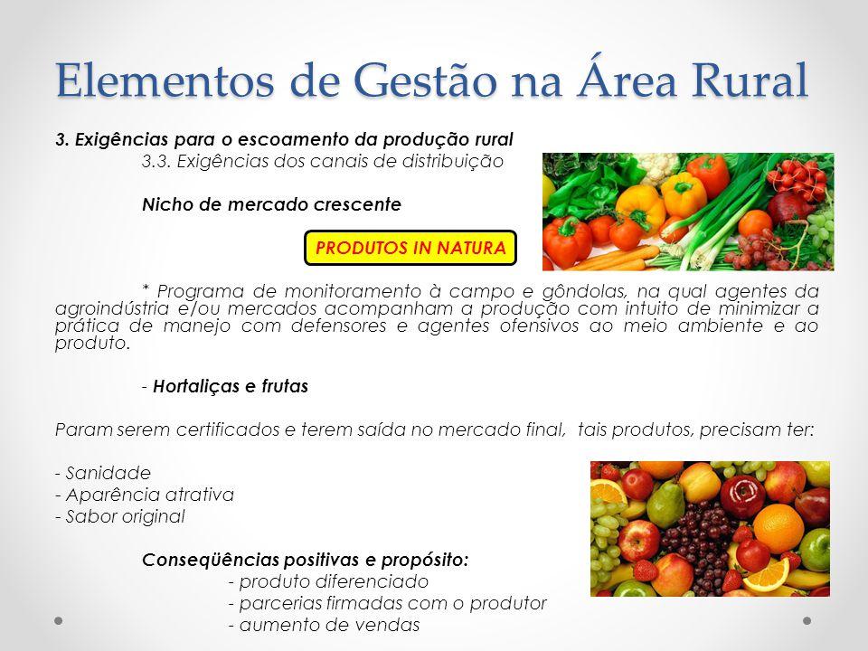 3. Exigências para o escoamento da produção rural 3.3. Exigências dos canais de distribuição Nicho de mercado crescente PRODUTOS IN NATURA * Programa