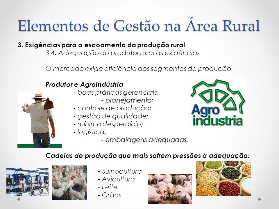 3. Exigências para o escoamento da produção rural 3.4. Adequação do produtor rural às exigências O mercado exige eficiência dos segmentos de produção.