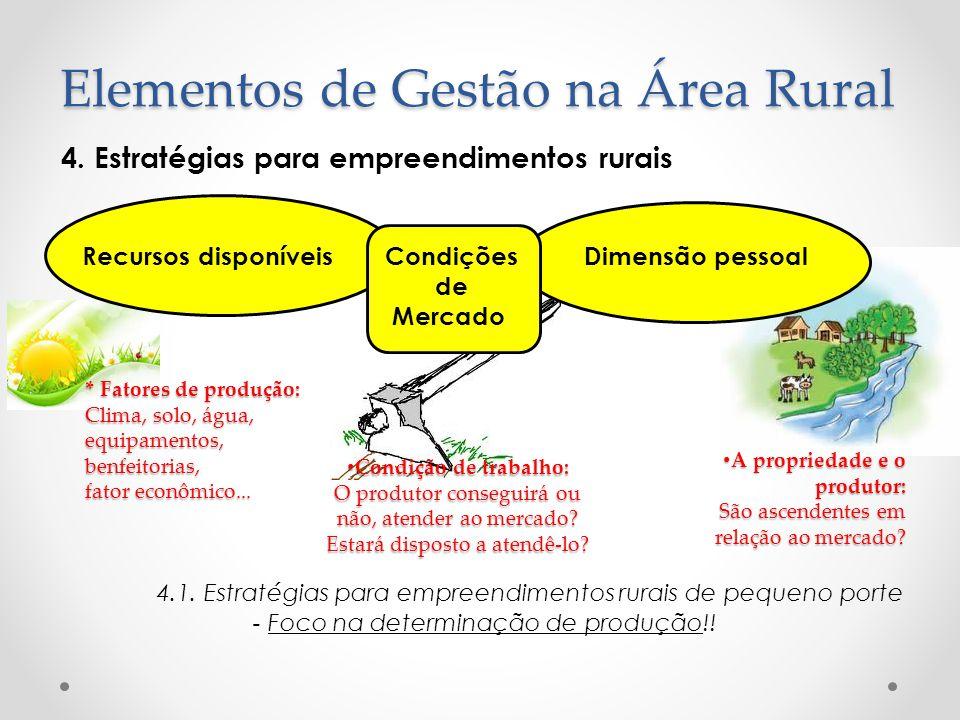 4. Estratégias para empreendimentos rurais Recursos disponíveis Condições Dimensão pessoal de Mercado 4.1. Estratégias para empreendimentos rurais de