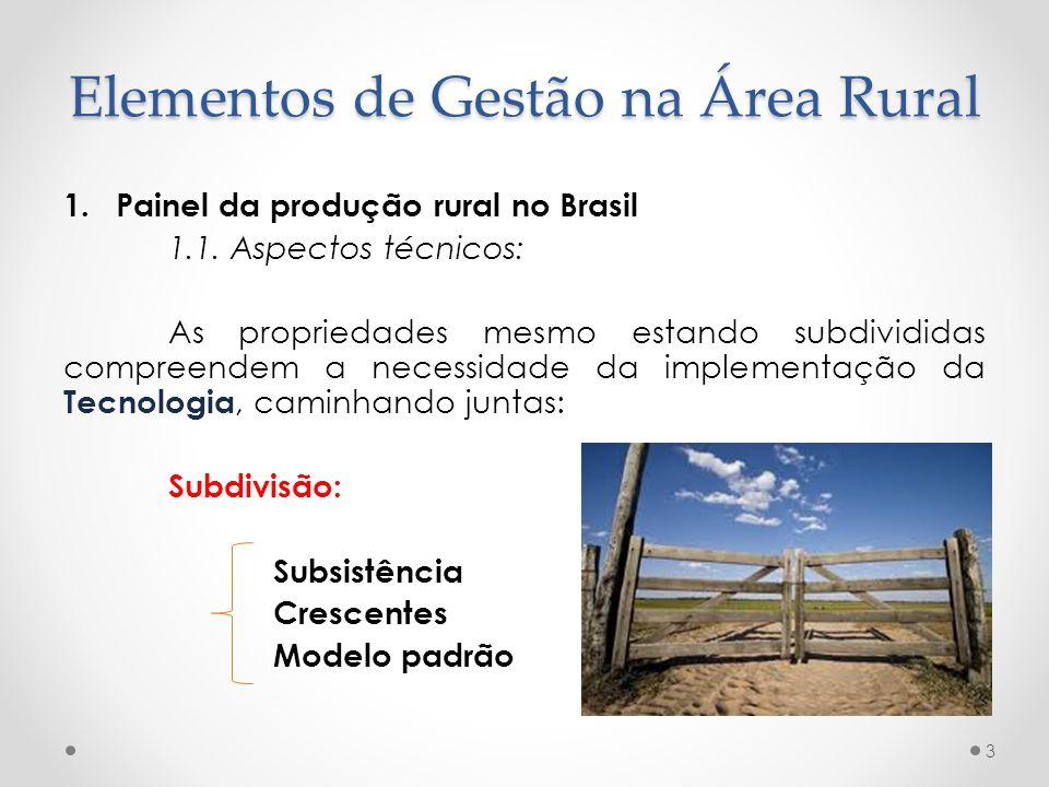 1.Painel da produção rural no Brasil 1.1. Aspectos técnicos: As propriedades mesmo estando subdivididas compreendem a necessidade da implementação da