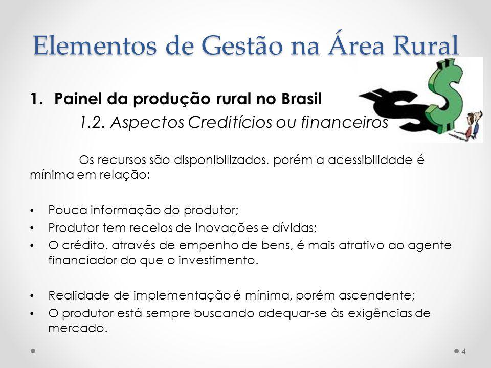 1.Painel da produção rural no Brasil 1.2. Aspectos Creditícios ou financeiros Os recursos são disponibilizados, porém a acessibilidade é mínima em rel
