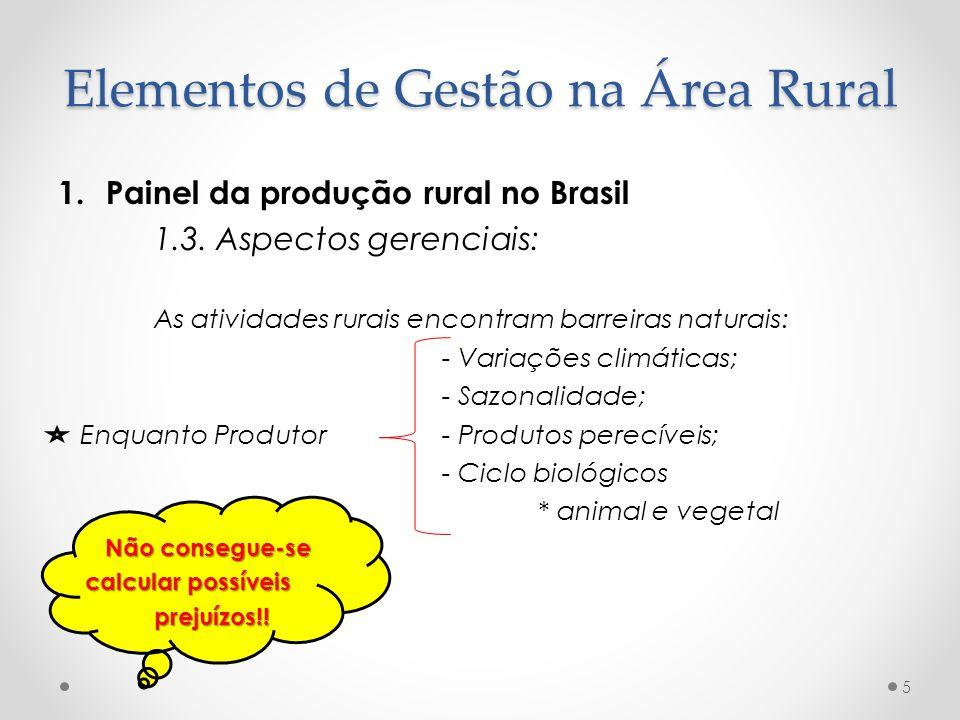 1.Painel da produção rural no Brasil 1.3. Aspectos gerenciais: As atividades rurais encontram barreiras naturais: - Variações climáticas; - Sazonalida