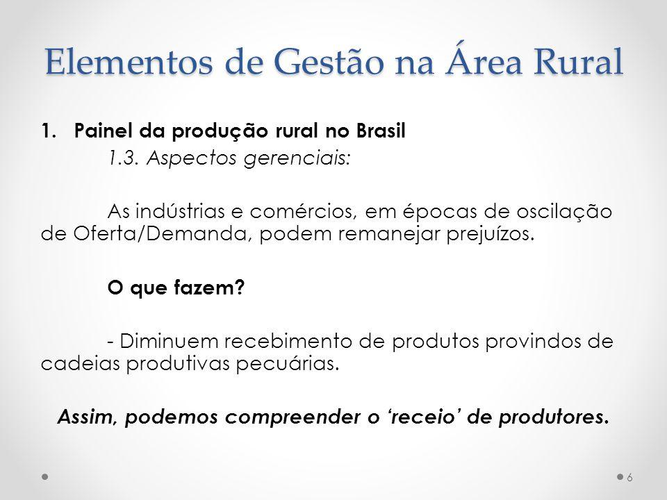 1.Painel da produção rural no Brasil 1.3. Aspectos gerenciais: As indústrias e comércios, em épocas de oscilação de Oferta/Demanda, podem remanejar pr