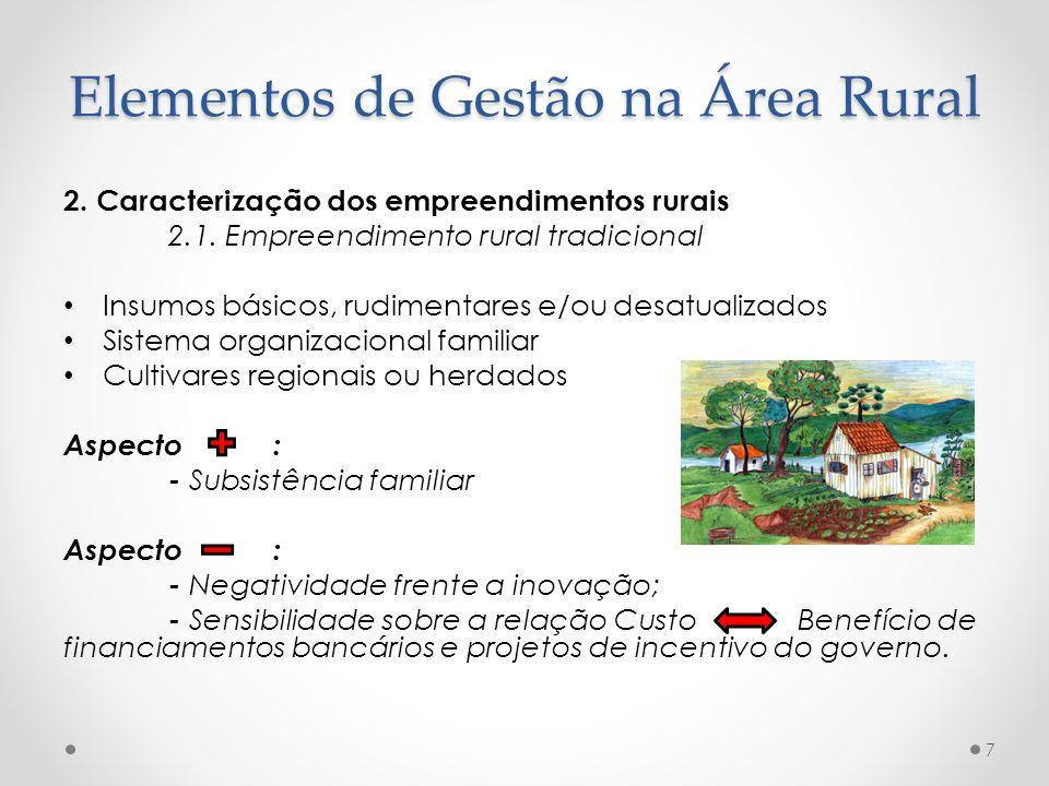 2. Caracterização dos empreendimentos rurais 2.1. Empreendimento rural tradicional Insumos básicos, rudimentares e/ou desatualizados Sistema organizac