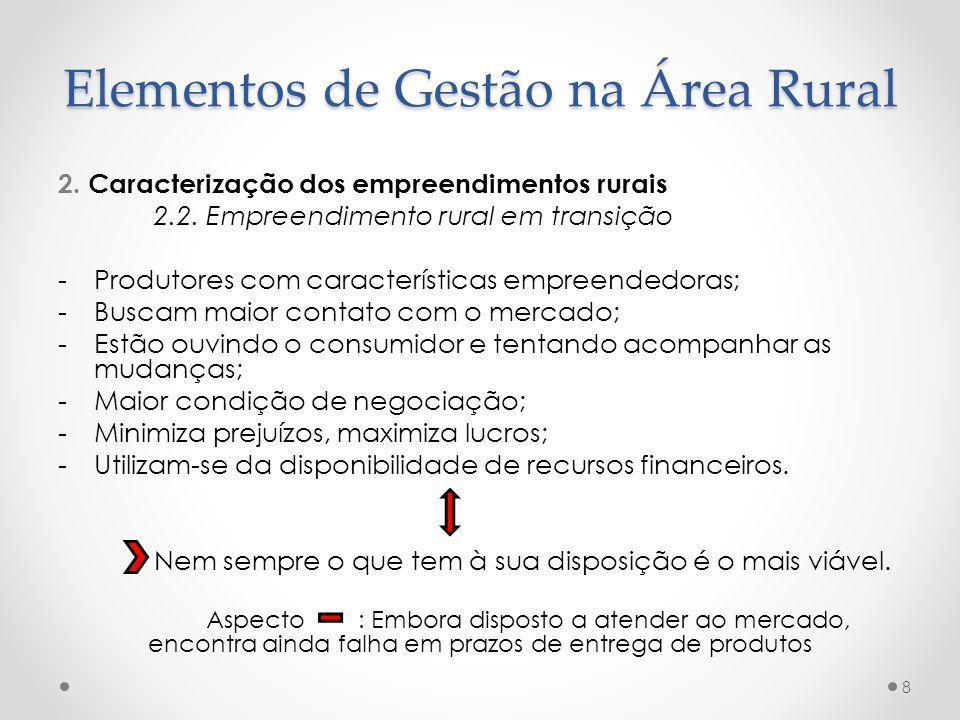 2. Caracterização dos empreendimentos rurais 2.2. Empreendimento rural em transição -Produtores com características empreendedoras; -Buscam maior cont